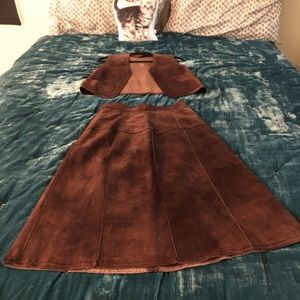 Vintage leather two piece skirt and vest